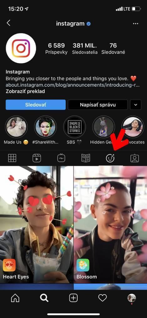 AR efekty na instagram