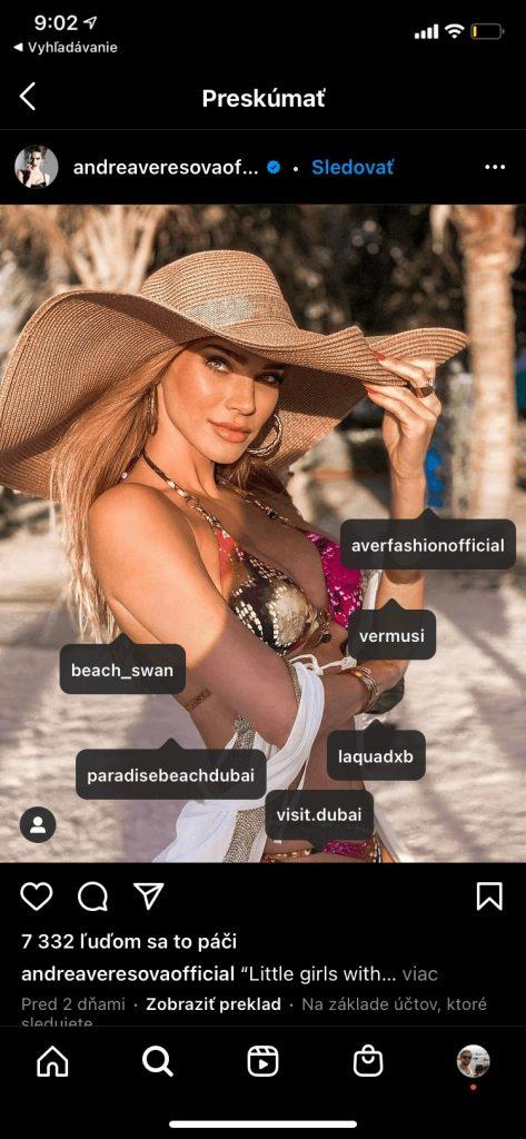 Andrea Verešová na instagrame kde nadviazala spoluprácu s influencermi