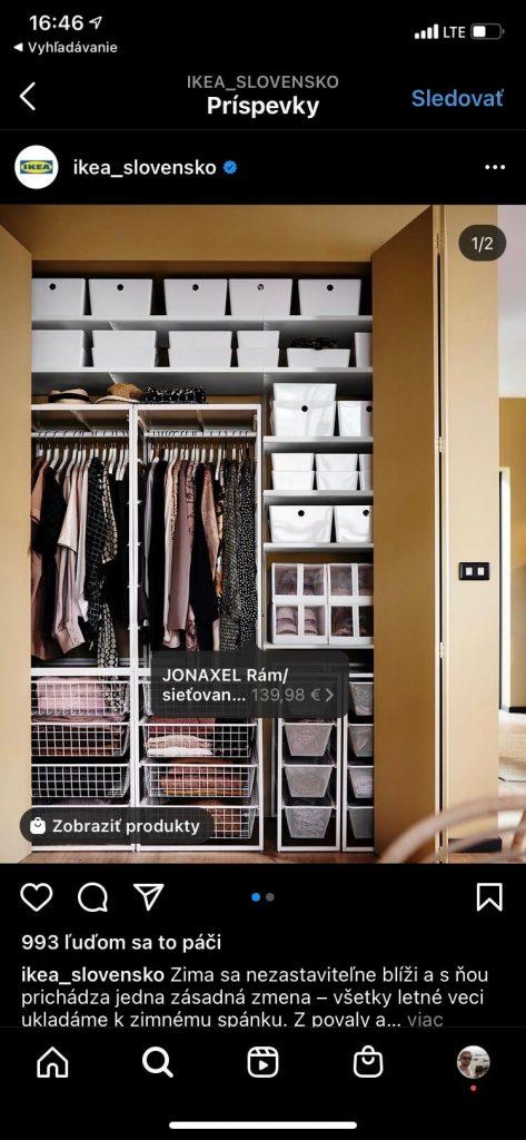 Označený produkt na instagrame u profilu IKEA